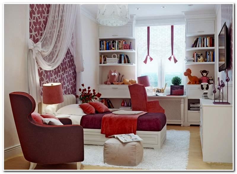 Дизайн комнаты для девушки подростка - красно-белая дизайн комнаты для девушки подростка